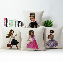 /pretty girl fashion cotton and linen hold pillow cushion for leaning on 45 * 45 cm