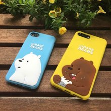 For iPhone 6Plus 6sPlus Popular Luxury 3D Cartoon Lovely brown whitebear we bare bear panda girl soft rubber phone case cover(China)