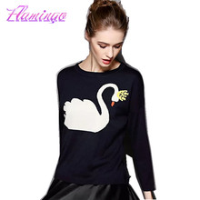 2017 Women Cashmere Sweater Fashion Pullover Long Sleeve Jumper Cotton Knitted Casual Coat Swan Black Jacket Female Tops Sueter