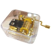 Exquisite Clear Acrylic Square Gold Hand Cranked Gurdy 18 Note Music Box Play Castle in the Sky