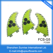 Quilhas FCS G5 Surfboard Fins yellow Surfing Fins Honeycomb Fin