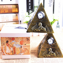 Bronze Pyramid Clock Egyptian Pharaoh Avatar Camel Sphinx Metal Rhinestone Ornaments Home Office Decoration Handicraft Gifts