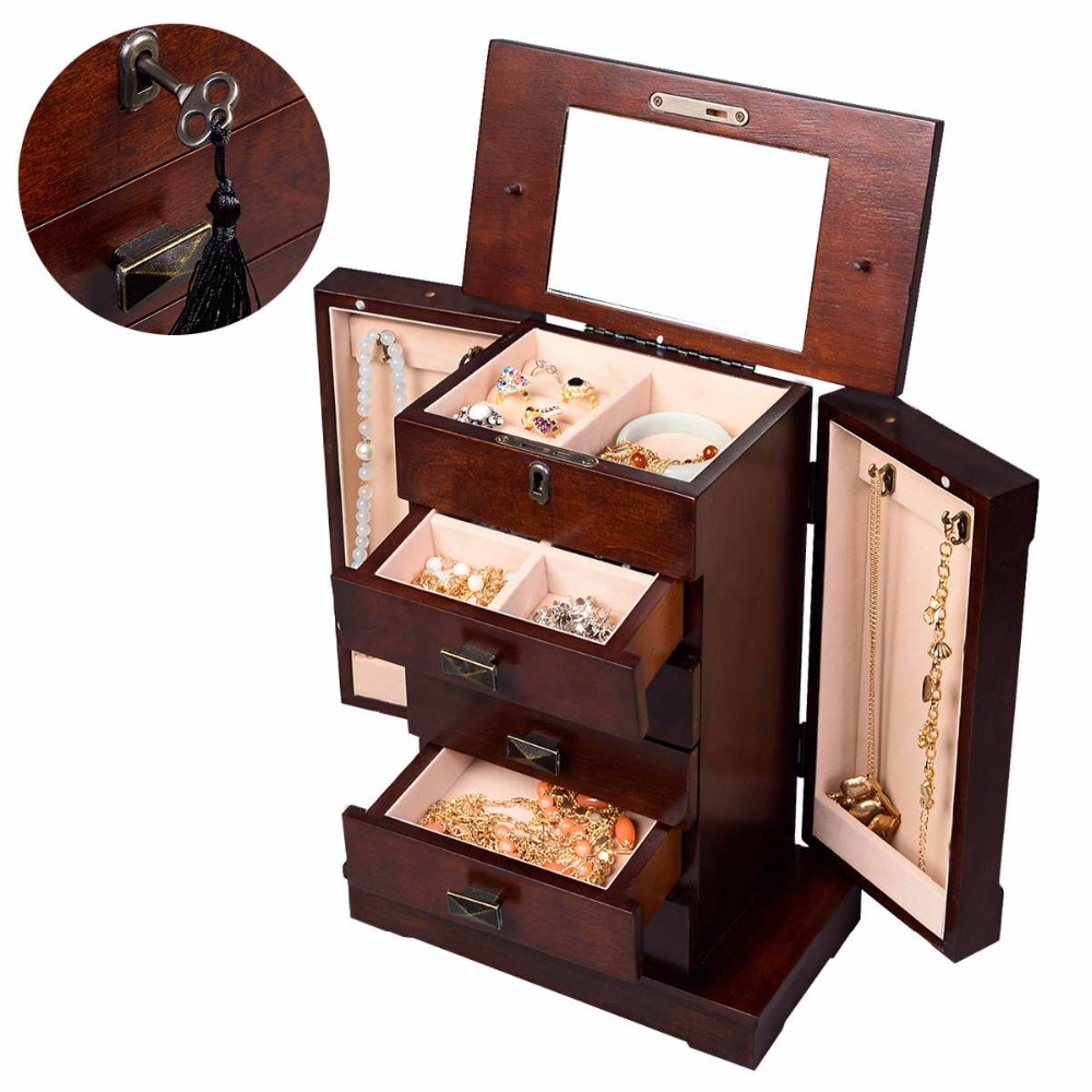 Goplus Jewelry Armoire Cabinet Box Storage Chest Stand necklaces Organizer Wood Nightstand with 5 Drawers and Top Mirror HB82378<br>