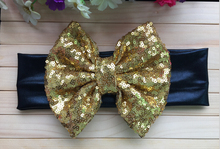 5pcs/lot Free Epacket/CPAP Metallic Messy Bow Head wraps, Jersey Knit Headwraps,Gold Bow Black Headband, Hair Accessory