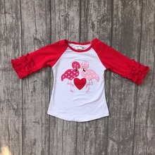 Valentine's Day spring/winter baby girls children clothes boutique cotton top t-shirt raglans icing sleeve love heart Flamingo(China)