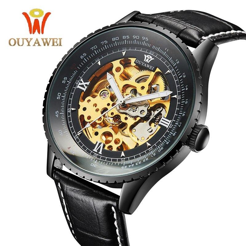 OUYAWEI Black Male Clock Men Relogios Skeleton Men Watches Top Brand Luxury Montre Homme Leather Wristwatch Men Mechanical Watch<br>