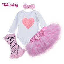 New Baby Girl Bodysuit With Lovely 4pcs Sets Skirt Suit Body Pink Skirt And Headband Girls Pants Tutu Skirt Free Shipping