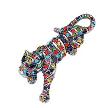 Multi Colors Crystal Rhinestone Tiger Brooch Pin Chinese Zodiac Animal Costume Accessory Vintage Fashion Jewelry