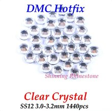 DMC Clear Crystal SS12 3.0-3.2mm Glass Crystals Hotfix Rhinestone Iron-on Rhinestones Shiny DIY Garment Bag With Glue