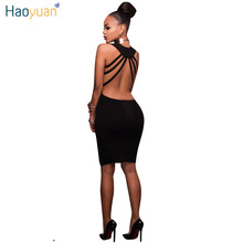 Buy HAOYUAN Backless Shoulder Sexy Dress Women 2018 Summer Backless Bodycon Bandage Sundress Open Back Pink Black Party Dresses for $9.59 in AliExpress store