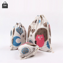 Cute owl print cotton linen fabric dust cloth bag Clothes socks/underwear shoes receive bag home Sundry kids toy storage bags