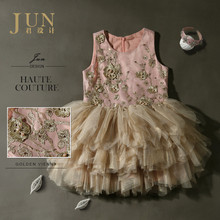 Top Quality Bridal Flower Girl Dress Pink Beige Patchwork Puffy Mesh Ball gown dress 4-14 age Flower beaded luxury dress
