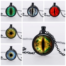 SUTEYI Fashion 1pcs Cat Eye Necklace Handmade Jewelry Dragon Eye Art Picture Glass Cabochon Pendant Necklaces For Men