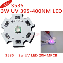 Freeshipping! 10pc s  3W UV/Ultra Violet High Power LED Bead Emitter 395-400NM with 20mm Star Platine Heatsink