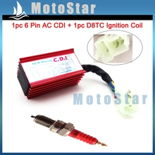 Red Racing 6 Pin AC Ignition CDI Box D8TC Spark Plug For CG 125cc 150cc 200cc 250cc Engine Pit Dirt Motor Bike ATV Quad