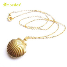 Diomedes Gussy Life wholesale Seashell Locket Pendant Gold Locket Gold Brass Sea Shell Necklace Feb10