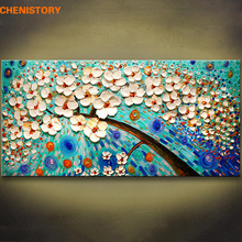 Unframed Blue Flower Modern Picture Palette Knife Painting Handpainted Home Decor Painting & Calligraphy For Living Room Decor