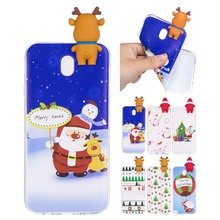 3D Christmas theme Cartoon Elk Soft TPU Silicon Case For Samsung Galaxy J5 2017 J530 J530F mobile phone case Back Cover coque(China)