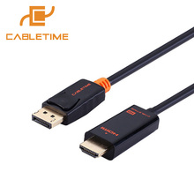Cabletime DisplayPort To HDMI Cable 1080P DP To HDMI Male/Male Converter DisplayPort 1.2 Cable for HDTV Projector Laptop PC N001(China)