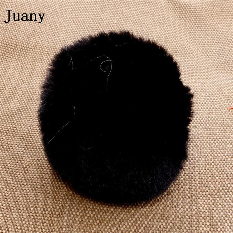 pompom key chain fluffy rabbit fur ball with bell key chain fake fur keychain women car bag key ring 5