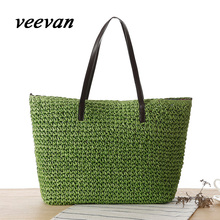 veevanv 2016 hot new Europe leisure Sen Department of Korean simple shoulder woven straw bag beach bag ladies handbag
