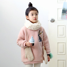 New Girls Plush Coats 2017 New Early Spring Thick Children Warm Tops Kids Cute Rabbit Clothes Toddler Berber Fleece Shirts,3-12Y