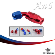 PQY RACING- High Quality PTEF AN6 AN-6 45 DEGREE REUSABLE SWIVEL TEFLON HOSE END FITTING AN6 PQY-SL6045-06-311