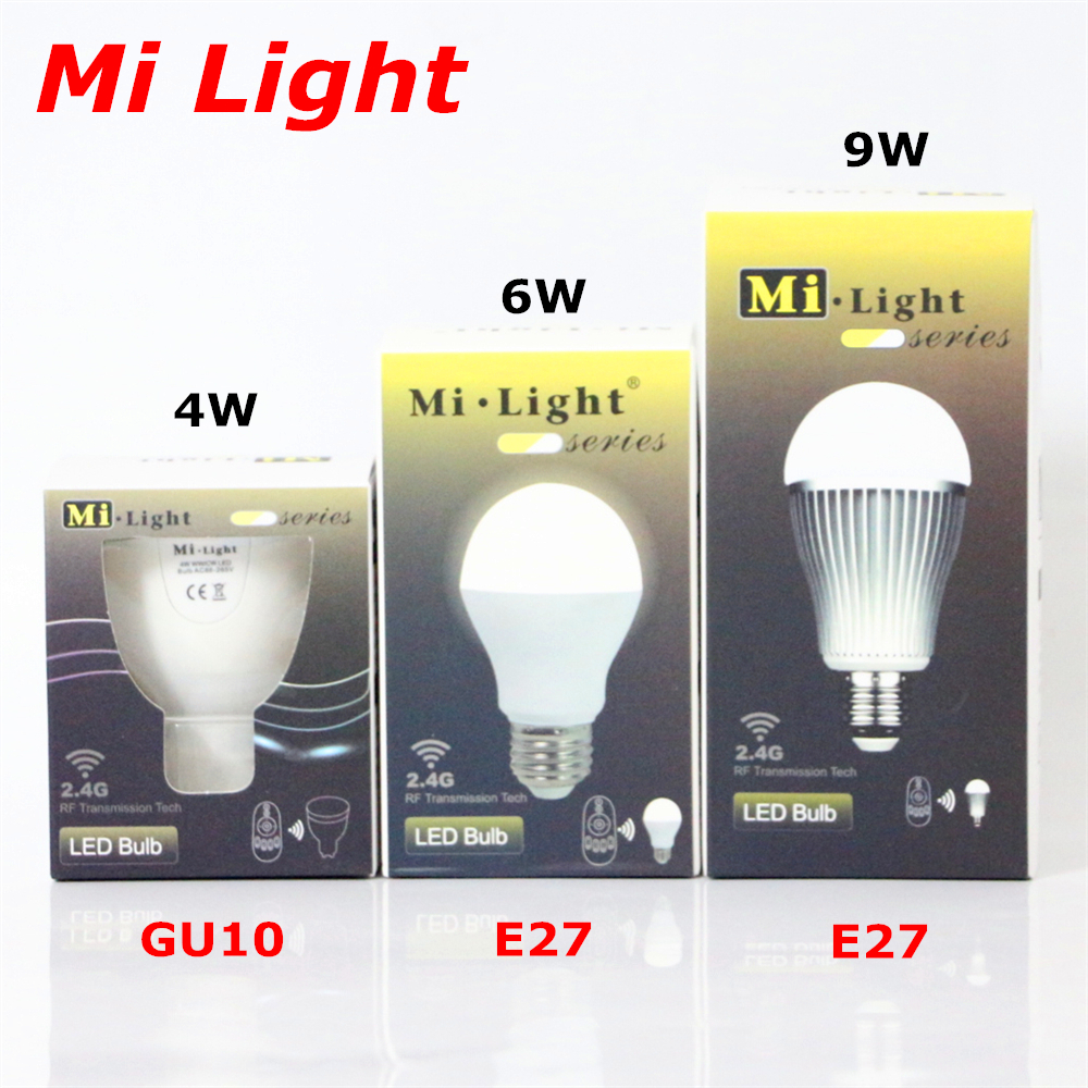 Mi Light Color Temperature &amp; Brightness Adjust Dimmable LED Bulb AC86-265V GU10 E27 4W 6W 9W Warm White Cold White LED Lamp<br><br>Aliexpress