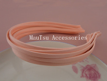 10PCS 5mm Peach Fabric Full Covered Plain Metal Hair Headbands hairbands for DIY hair jewelry(China)