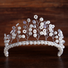 Fashion Flower Pearl Crystal Tiara Wedding Queen Crown Hair Accessory Tiara Pearl Glass Bead Hairwear Bridal Jewelry