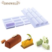 DINIWELL Bakeware Baking Pastry Mould 9-Cavity Rectangles Shape Silicone Mold For Pudding Soap Brownie Egg Tart Cornbread Jelly(China)