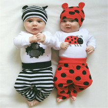 2016 Newborn Infants Baby Boys Girls Rompers baby clothing sets baby clothes 3pcs long sleeve infant rompers+trousers+hat