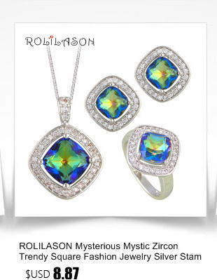 ROLILASON Cheap Price Water Drop Design 925 Silver White Zircon For girl Earrings Necklace Rings Jewelry Sets JS735