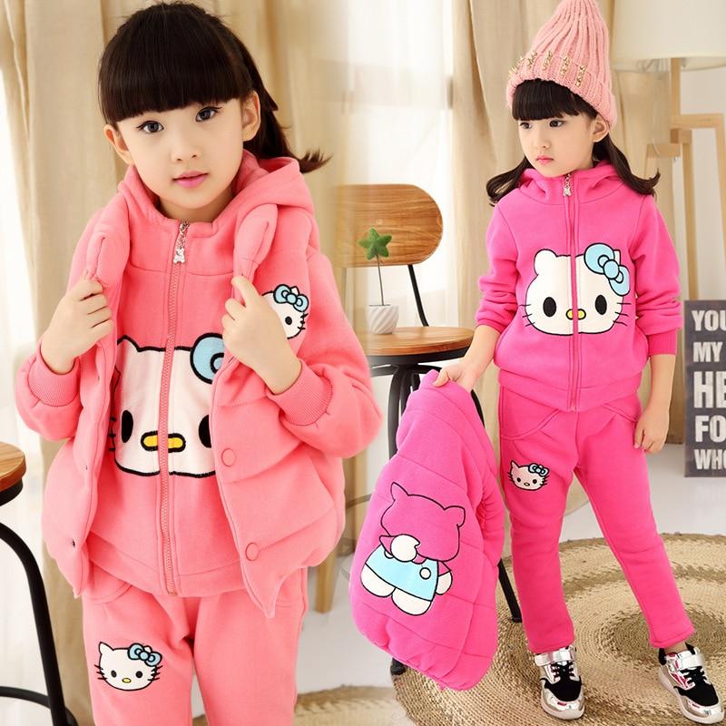 2017 Winter Kid girls kitty cartoon three-piece set children add cashmere sweater clothing suit<br><br>Aliexpress