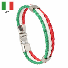Country  Flag Color Surfer PU Leather Bracelets World Cup National Soccer Fan Italy France Russia Spain Flags bracelets bangle