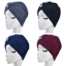 2017 New Fashion Ladies Jewel Accessory Winter Warm gem Turban Soft Knit Headband Beanie Crochet Headwrap Women Hat Cap