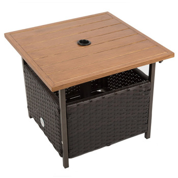Naturefun Outdoor PE Wicker Square Bistro DiningTable, Garden Leisure Coffee OttamanTable with Umbrella Hole