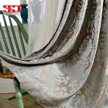 European damask jacquard curtains for living room blue shiny drapes for bedroom custom size window panels shade 70% blinds ivory(China)