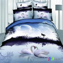 Blue Moonlight 3d White Swan Bird Print Bedding Set Queen Size King Size Pure Cotton Duvet Cover Bedsheet Romantic Bedroom Sets(China)