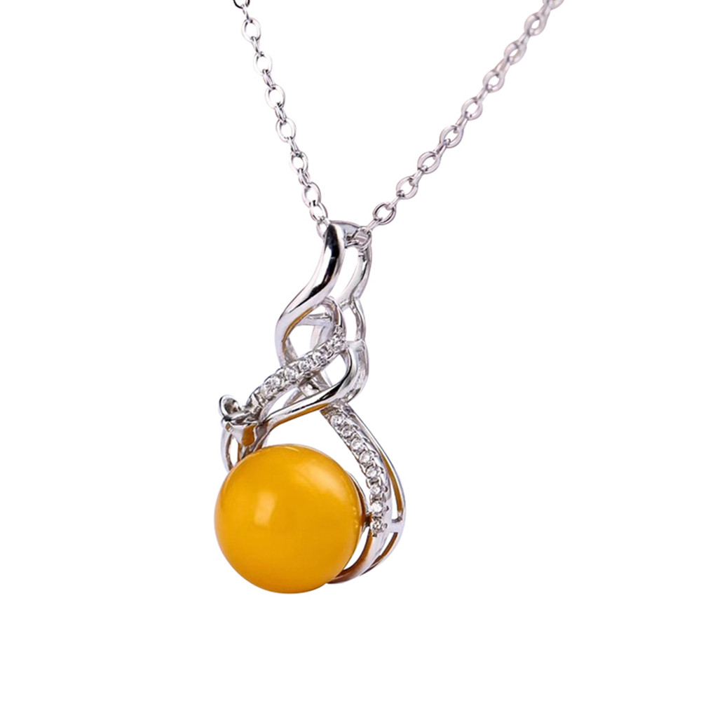 gemstone jewelry factory wholesale white yellow gold color 925 sterling silver natural amber charm pendant necklace for female