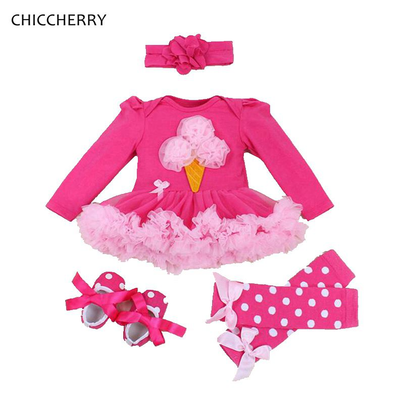 Ice Cream Cute Toddler Girl Clothes Long Sleeves Infant Lace Tutu Headband &amp; Leg Warmers Set Ropa Bebe One Birthday Party Dress <br><br>Aliexpress