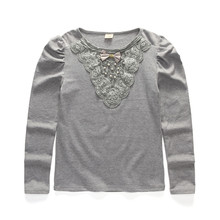 4T to 12T kids & teenager girls gray white lace with pearl long sleeve cotton causal base t-shirt big girls fall winter t shirts