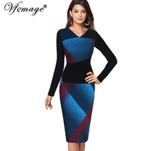 Vfemage Womens Elegant Optical Illusion Patchwork Contrast 2017 Slim Casual Work Office Business Party Bodycon Pencil Dress 4826(China)