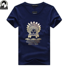 Original ancient Indian head picture prints mens t shirts fashion 2017 Summer Slim O-neck Short Sleeve T-shirt Men Brand Top Tee