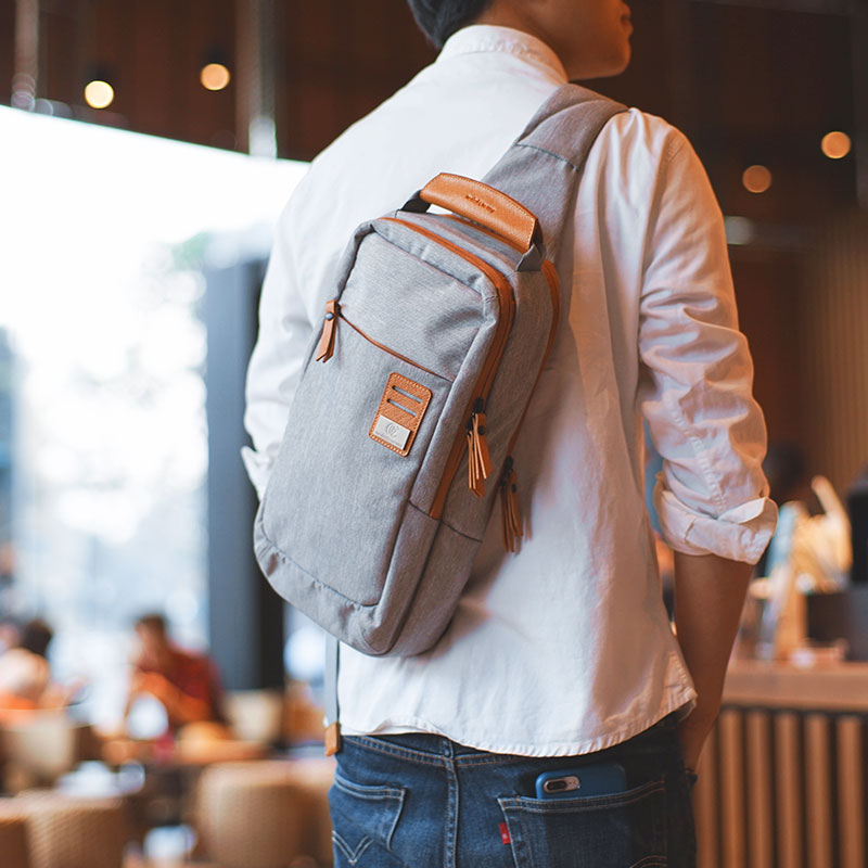 New Group Cross Body Shoulder Bag Small Cell Phone Canvas Strap Sling Men Messenger Bags Leather Chest Pack Mens Chest Bags<br>