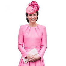 Buy Princess Kate Middleton Dress 2017 Autumn Woman Dress O-neck Long Sleeve A-Line Pink Elegant Dresses Work Wear Clothes NPD068 for $69.95 in AliExpress store