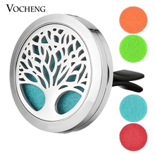 30mm Stainless Steel Car Air Freshener Perfume Essential Oil Diffuser Locket Jewelry Tree of Life with Free Pads VA-505