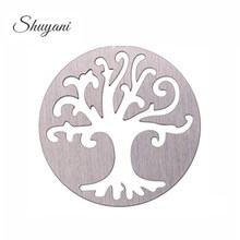 22mm 316L Stainless Steel Round Window Plate Family Tree Floating Plates Charms For 30mm Glass Living Memory Locket(China)
