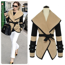 Autumn Winter Victoria Beckham Coat 2016 Apricot and Black Hit Color Patch Wool Elegant Overcoat Outwear Coat Jacket Top Quality(China)