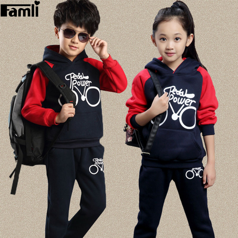 4Y-10Y Childrens Tracksuit Kids Girl Spring Autumn Casual Hooded Long Sleeve Printed Suit Boys 2pcs Clothing Set Outfits<br><br>Aliexpress